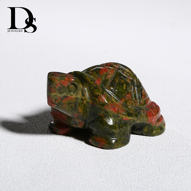 "2/"" Turtle Tortoise Figurine Natural Gemstone Unakite Crystal Healing Home Decor"