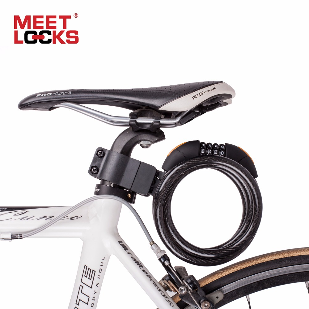 MEETLOCKS Bike Locks Bicycle Lock Anti-theft Coiled Cable Lock Changeable Code Bicycle Accessories Cycling Candado Bicicleta