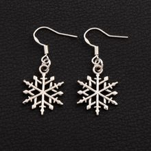 цена на 32pair 15.5x37.2mm Tibetan Silver Slim Snowflake Metal Alloy Earrings 925 Silver Fish Ear Hook Dangle E790