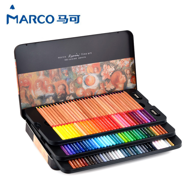 100PCS/lot Marco Renoir professional art oily cork color pencil drawing pencil color pencil tin box cute lovely color pencil drawing tutorial art book
