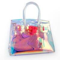 OCEANBS New Transparent Hologram Laser Messenger Bag Women Pink Jelly Shoulder Bag Female Harajuku Big Tote Girl Handbags Bolsas