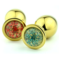 stainless steel golden anal plug sex toys for woman adult masturbator metal butt plug products anus dilator,2 color base pattern