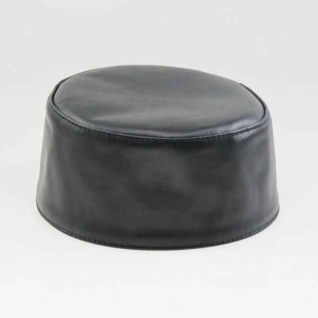 Rael Sheepskin Ritual Hat Black Muslim Men Hat New Muslim Prayer Hats  Arabic Islamic Genuine Leather 0536409ee014