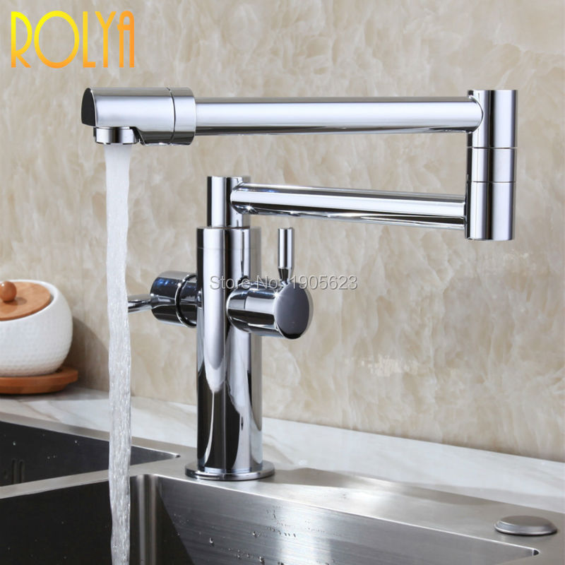 polished copper stylish brass sink mixer tap deck mounted hot and cold foldable kitchen faucet pot filler - Pot Filler Faucet