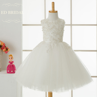 Puffy Tulle Flower Girl Dresses With Lace Appliques First Communion Dresses For Girls Kids Evening Gowns