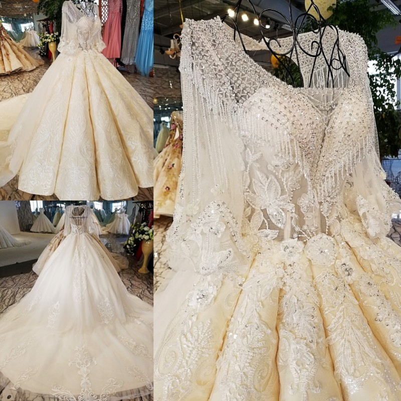 Drop Sleeve Wedding Gowns With: 100% Real Show Custom Accepted Dress Long Sleeve Beading