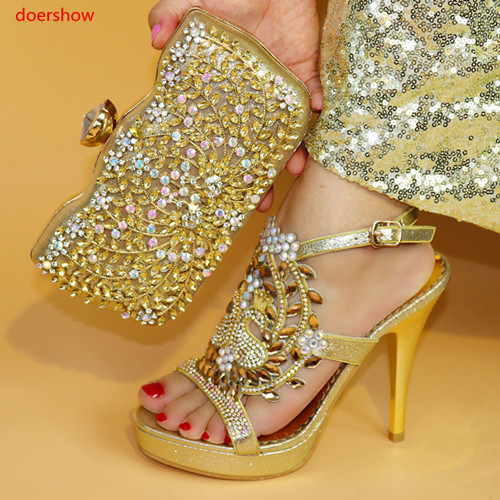 doershow gold color Shoes and Bag To Matching African Shoes and Bag Set For Party Nigerian Women Fashion Shoes and Bag PAB1-30doershow gold color Shoes and Bag To Matching African Shoes and Bag Set For Party Nigerian Women Fashion Shoes and Bag PAB1-30