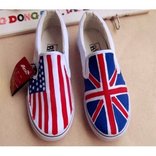 4db911d1c69a DIY USA Flag Canvas Shoes Hand Painted Shoes Union Jack Shoes Stars    Stripes Graffiti Casual Shoes Flat Free Shipping