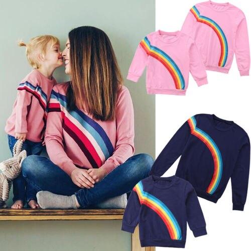 2018 Marke Neue Regenbogen Herbst T-shirt Mutter Tochter Passenden Shirts Familie Kleidung Baby Mädchen Lange Hülse O-ansatz Pullover 6 Mt -5 T