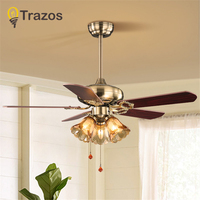 TRAZOS Village Wooden Ceiling Light Fan Wood Pull rope Decorative Ceiling Fans Grass Lampshade Fan Lamp Ventilador De Techo
