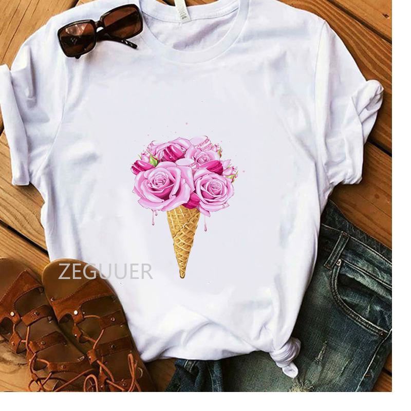 Pink Flower Ice Cream T-Shirt Vogue Lovely Design Women Summer T-shirt White Cotton Soft Casual Tees Lady Aesthetic Art Tops