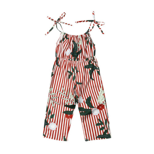 Romper   Newborn Toddler Kids Baby Girls Clothes Sling Sleeveless Summer Cotton Jumpsuit Leotard Girl Jumpsuit Floral Leaves tree