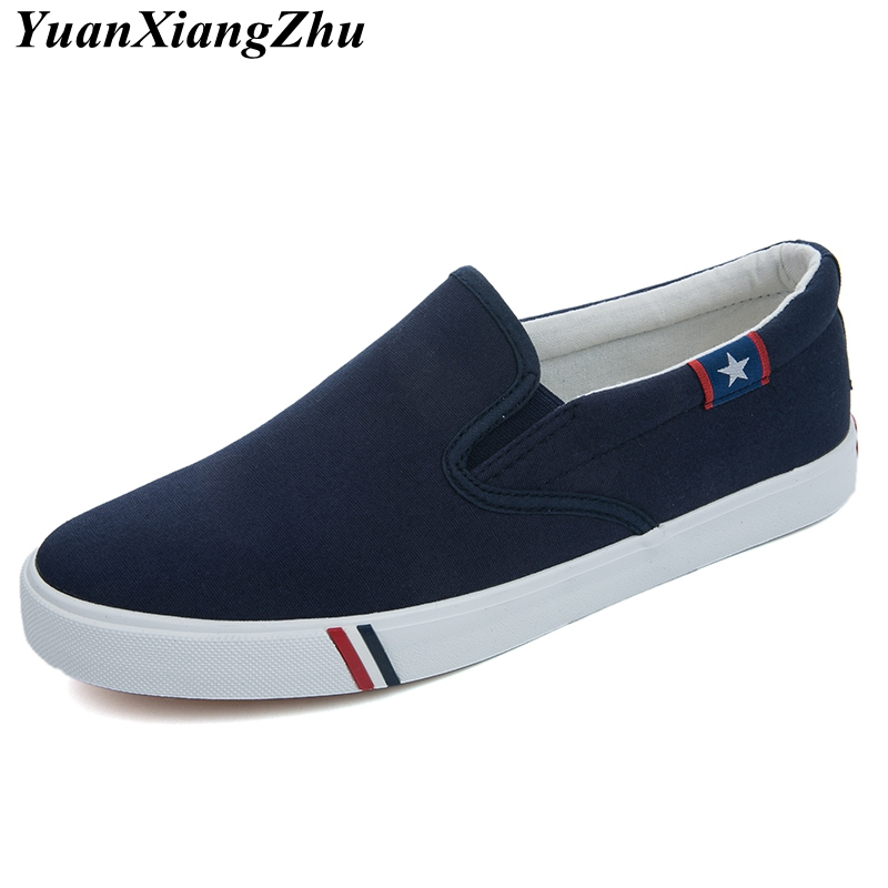 Men Canvas Shoes Simple Casual Mens Loafers 2019 Autumn High Quality Anti-Slip Comfortable Vulcanized Shoes Man Flats Size 35-47(China)