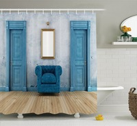 Empty Room With Two Doors Armchair And Simple Mirror With Golden Color Frame Fabric Bathroom Shower
