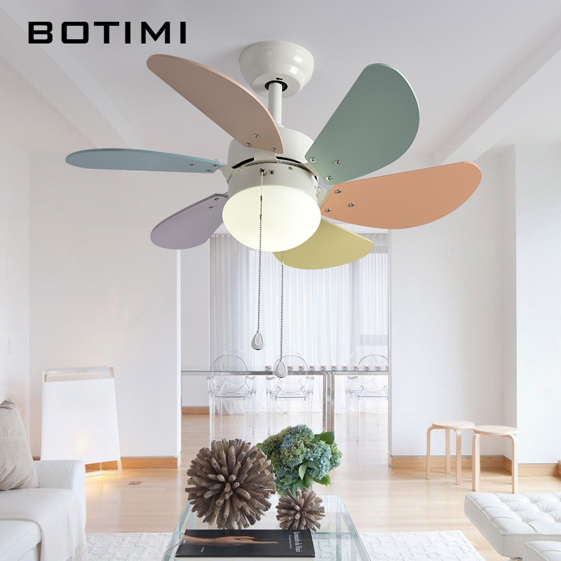 BOTIMI LED Ceiling Fan Ventilador De Techo Kid Fan Lights Children Cooling Ceiling Fans For Kids Room Baby Lighting Fan Fixtures цена