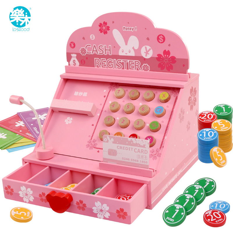 Logwood Wooden toy real life Groceries Toys Cash register Occupation awareness Supermarket game Learning Education Wooden toys