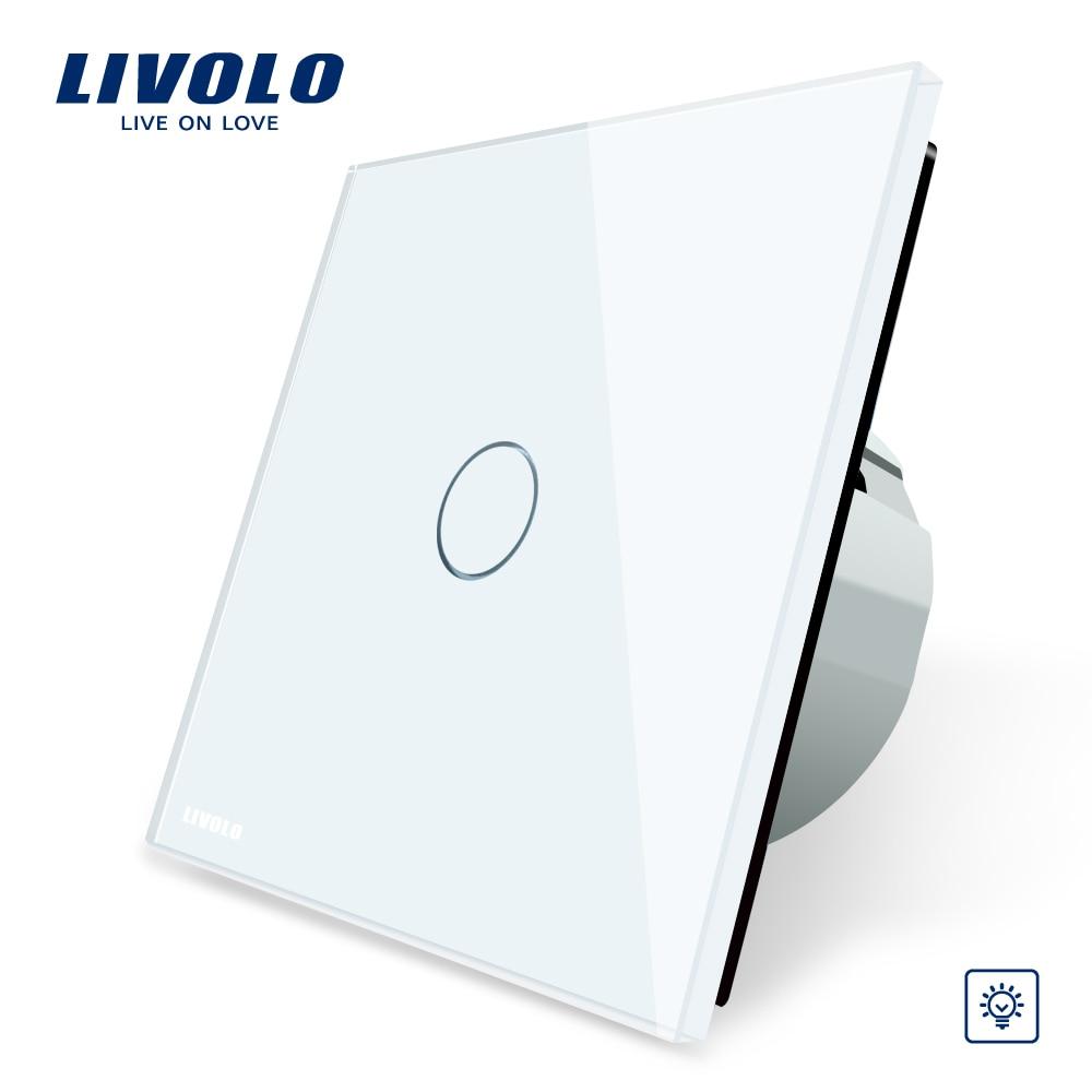Livolo EU Standard Dimmer Switch, Wall Switch, Crystal Glass Panel, 1 Gang 1 Way Dimmer,VL-C701D-1/2/5