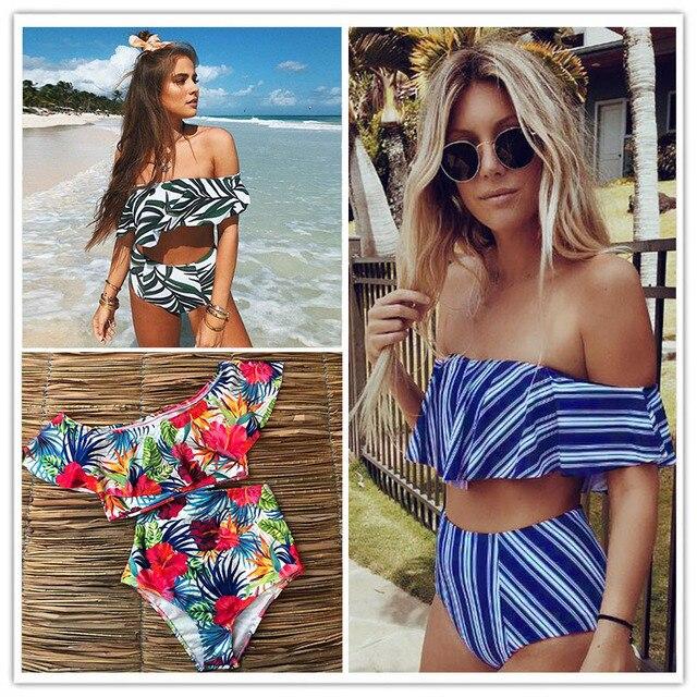 2019 Sexy bikini Set Cintura Alta Mulheres Swimwear Listrado Biquini Babados Nadar Maiô Branco Azul Maiô Biquínis Do Vintage