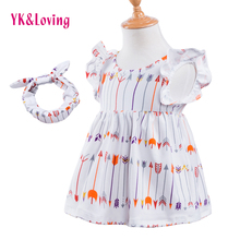 Children 1-6T Dress Cotton Girl Cute Arrow Cartoon Petal Sleeve Dresses Kids New Clothes Princess Korean Clothing