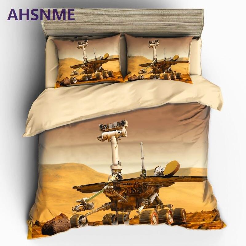 AHSNME NASA Mars Exploration Program Curiosity Bedding Sets Duvet Cover Set Flower Plant Printed 3pcs Floral Bed Cover