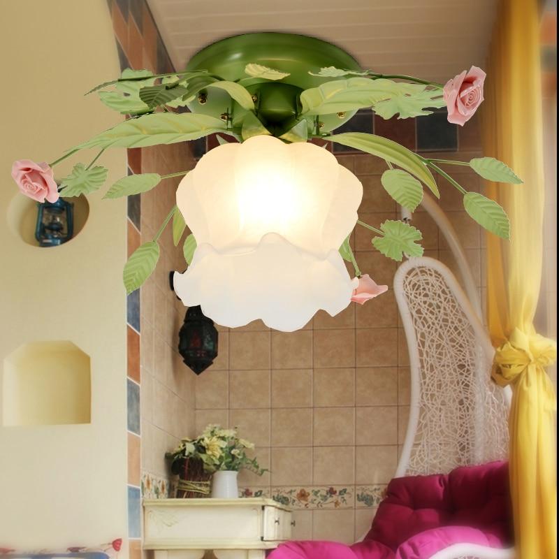 Жилой светильник/светильник, Современная сельская спальня/коридор лампа стеклянная люстра диаметром 45 см светодиодный светильник с цветами