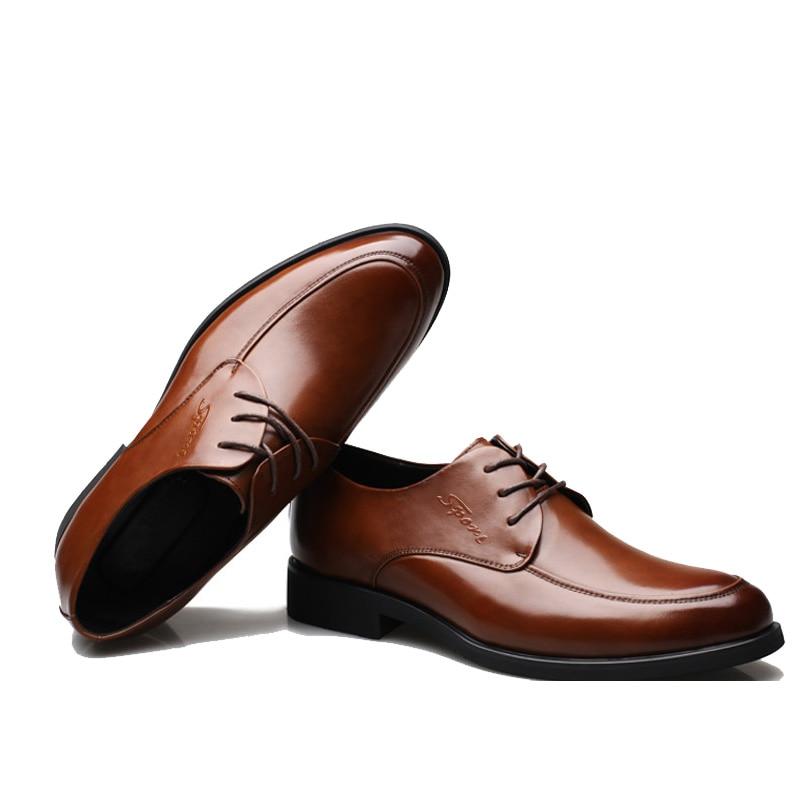 Nouveau 2016 affaires robe chaussures de mariage bout pointu mode chaussures en cuir véritable appartements Oxford chaussures pour hommes taille 38 47 - 4