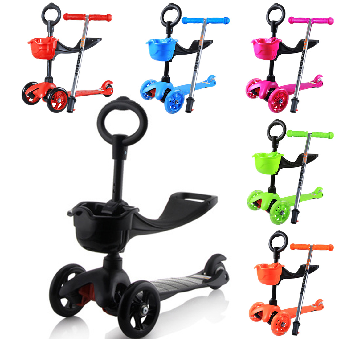 3Modes LED Lights 3Wheel Skateboard Scooter with ...