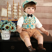 NPK 60 cm Prince Silicone Reborn Baby Dolls Lifelike Real Vinyl Toddler Doll for boy Bedtime House Toy bebes reborn menino
