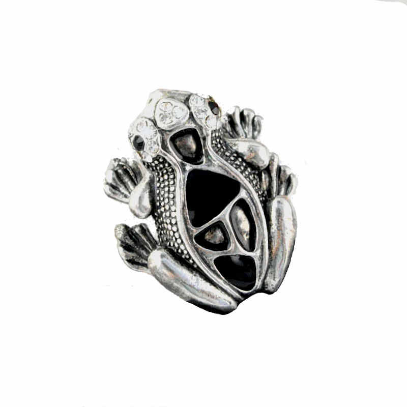 139d260de21648 AOLOSHOW Vintage Silver Animal Cute Frog Ring for Women Men Statement Ring  Jewelry Vivid Finger Jewelry