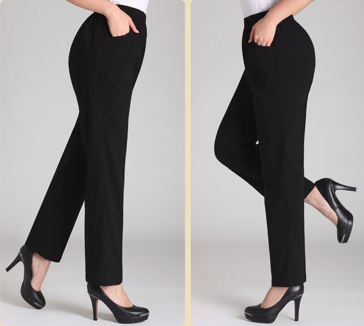 2019 spring and summer Fashion casual plus size elastic waist loose middle aged female women pants trousers clothing clothes in Pants amp Capris from Women 39 s Clothing