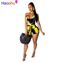 HAOOHU Tie Dye Sexy Playsuit Women Beach Off Shoulder Backless Summer Overalls One Piece Bodycon Bandage Short Rompers Jumpsuit