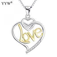 En gros 925 En Argent Sterling Colliers Coeur Mot Amour Stud Pendentif Choker Collier Femme Bijoux Cadeaux Environ 18 Pouce Brin