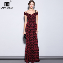 Lady Milan Womens Party Prom Sexy Off the Shoulder Slash Neckline Appliques Floral Elegant Long Designer Mermaid Runway Dress