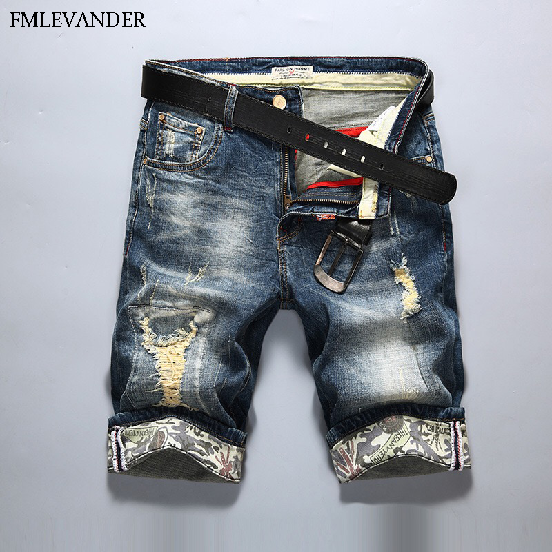 High Quality Ripped Denim Short Straight Pants Trousers Homme Men Jeans