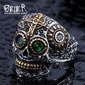 Beier 316L кольцо Из Нержавеющей Стали череп байкер мужчины Кольцо горячая продажа человека ювелирные изделия BR8-327