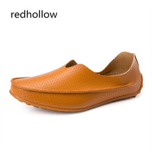 New 2019 Men Casual Shoes Leather Summer Breathable Holes Flat Shoes for Men Soft Driving Shoes Slip on Moccasins Plus Size 47 цена