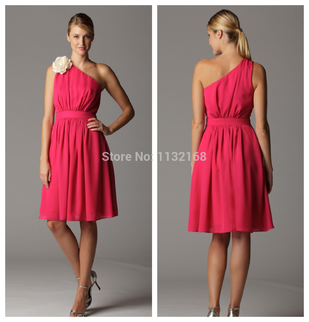 Inexpensive one shoulder watermelon chiffon short bridesmaid inexpensive one shoulder watermelon chiffon short bridesmaid dresses with flowers under 100discount for bulk orders bm9006 in bridesmaid dresses from ombrellifo Gallery