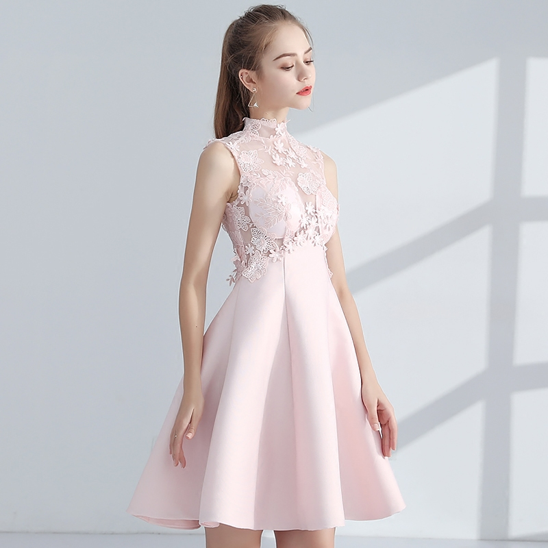 Beauty emily Short Prom Dresses new pink Prom Gowns Sleeveless Appliques Built In Bra lovely dress for graduations-in Evening Dresses from Weddings & Events    1