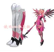 OW Mercy Angela Ziegler Cosplay Shoes Pink Mercy Skin Cosplay Boots Customize European Size(China)