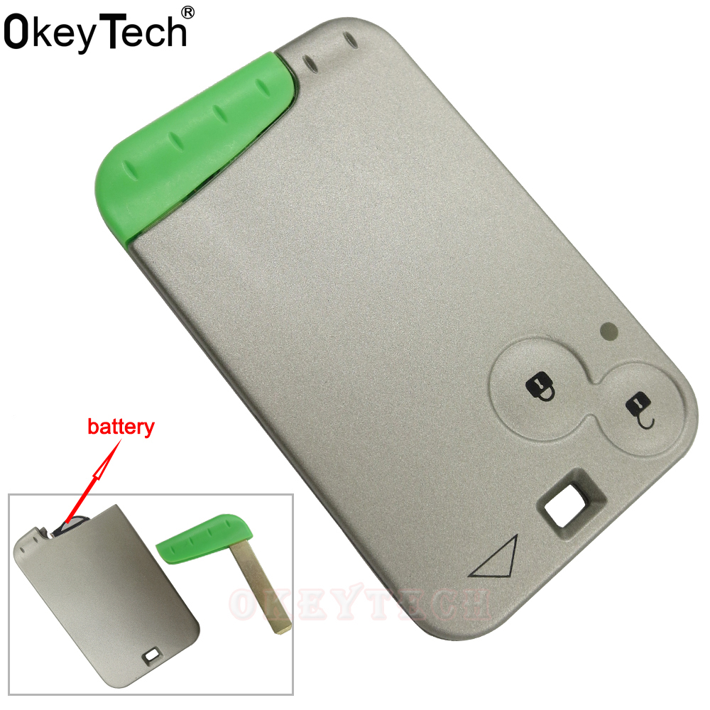 OkeyTech Replacement 2 Buttons Remote <font><b>Key</b></font> for Renault Laguna Escape Smart Card Remote <font><b>Key</b></font> 433 MHz Chip Smart Card Fob Car Alarm