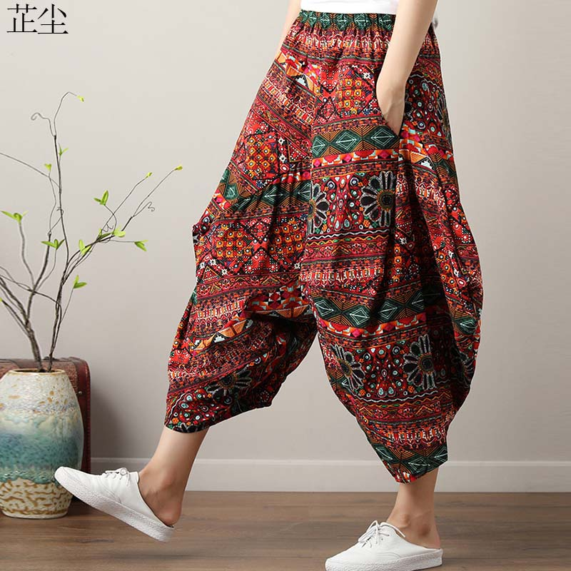 2019 Summer Cotton Linen   Wide     Leg     Pants   Women Art Ethnic Print Long Big Size Elastic Waist   Pants   Woman Beach   Pants   Pantalone 5XL