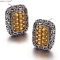 2017 Winter New retro Style 925 Sterling Silver Filled Gold Earrings E0453