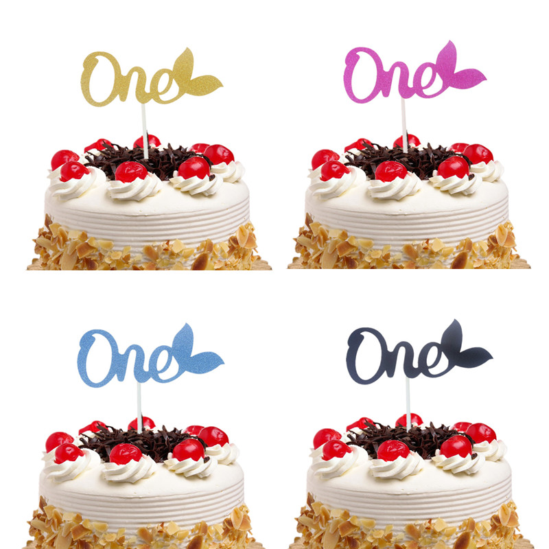 Cake Toppers Glitter Butterfly ONE Cupcake Topper Cake Flags Kids 1st Birthday Wedding Bride Party Baby Shower Baking DIY Decor