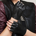 Brand Men And Women Genuine Leather Gloves Sheepskin Leather Fingerless Gloves Black Red Outdoor Dance Driving Gloves KU-008