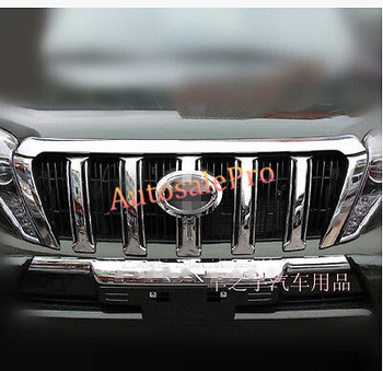 Chrome Front Hood Grille Around Cover Trim 5Pcs For Toyota Land Cruiser Prado Fj150 2014 2015