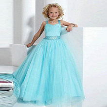 Licht Sky Blue Spaghetti-trägern Blumenmädchen Kleid mit Schärpe Perlen Kristall Kinder Abendkleider Lange Falten Kommunion Kleid Mädchen