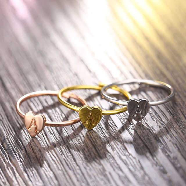 FAMSHIN Gold Silver Color Heart Letters Name Ring Set Engagement Party Jewelry 3