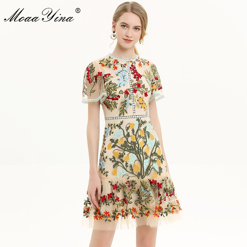 MoaaYina Fashion Designer Runway dress Spring Summer Women Dress Flare Sleeve Floral Mesh Embroidery Slim Elegant