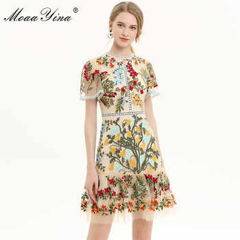 MoaaYina Fashion Designer Runway dress Spring Summer Women Dress Flare Sleeve Floral Mesh Embroidery Slim Elegant Dresses - DISCOUNT ITEM  20% OFF All Category