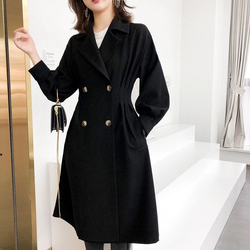 2019 High End Spring Autumn Twill Windbreaker Women Outerwear Long Section Waist Slim Dress Female   Trench   Coats Black Top X777